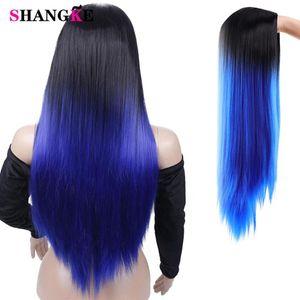 Shangke longo Mixed Natural Direto peruca sintética escuro Root Ombre Cor Natural Nalure perucas para mulheres Africano-americanos