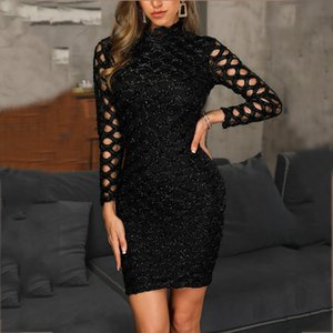 vestido cintilante vestido openwork vestido de festa boate de outono e inverno as mulheres