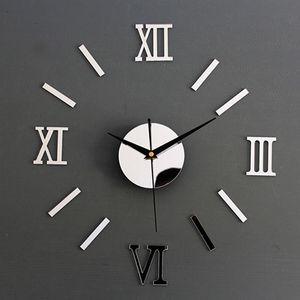 Modern Wall Bricolage Intérieur romain Horloge Horloge murale 3D Sticker Accueil Effet Miroir 4 Style de haute qualité Stickers muraux 3D