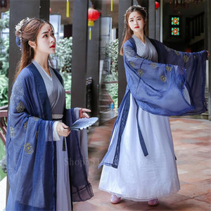 Tradizionale Cinese intrattenimento musiche e canzoni vestito elegante Fata Donna di scena Folk Dance Costume antico ricamo Capodanno Clothes Outfit
