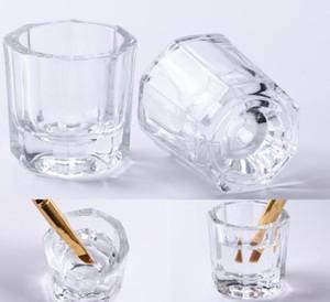 1pcs 네일 아트 유리 크리스탈 볼 컵 접시 Arcylic 액체 파우더 홀더 유리 용기 컨테이너 저장 매니큐어 도구 살롱