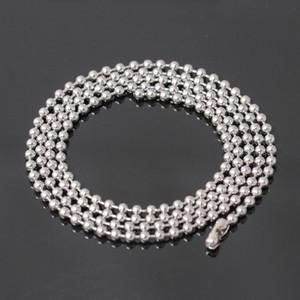 Aço inoxidável Chains acabados Cadeia Colar da bola com achados Bundle Prata Jóias Bead colares Homens Acessórios