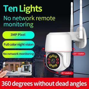 Visión nocturna a todo color Cámara a prueba de agua PTZ WIFI 2MP Cámara de cúpula de velocidad al aire libre AI Detección humana 1080P ONVIF Security Cámara CCTV Cámara