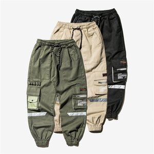Mens Cargo Pants Street Joggers Hosen Male Multi Pocket Tactical Pants Hip Hop-elastische Taille männlich Hosen