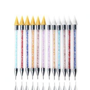 Двойной состава ногтей Расставить Pen Хрустальные бусины ручки Rhinestone Коты Picker Воск Карандаш для маникюра акриловые ручки ногтей инструменты искусства 120pcs OOA8118