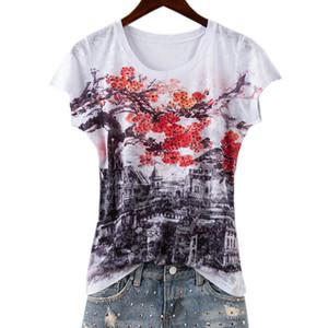 Mode Vintage Doppeldruck T Shirt Frauen Tops Sommer 2018 Plus Größe Heiße Bohrungen Neue Ankünfte 4 farben Y19042501