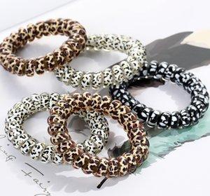 Mulheres menina Telefone Fio cabo Gum bobina Cabelo Gravatas Meninas Bandas elástico de cabelo do anel corda cópia do leopardo pulseira elástico Ropes cabelo