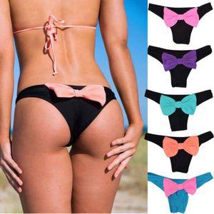 Sexy Meihuida Frauen Brazilian Board Shorts-Bogen-Knoten V Thong Cheeky Ruched Bottom Swimwear Low Waist Bademode Badeshorts