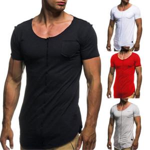 الرجال مشتركة الخام selvedge عارضة تناسب تي شيرت O عنق البوليستر قصير كم قميص أعلى المحملة تنفس