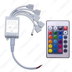 Coche 12A 24Key Controlador RGB 4Pin 5 Salidas Controlador remoto IR para luz de tira LED Cambio colorido # 960