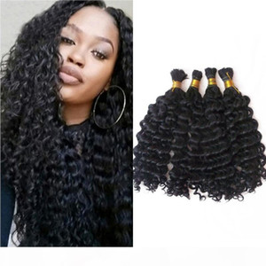 4 Bundles Bulk Human Hair for Braiding Deep Wave Malaysian Human Hair Bulk No Weft 4-28inch FDSHINE