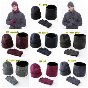 Warm Knitted Hats Scarf Gloves Set Men Women Touch Screen Glove Scarves set Hat Thick Skullies Beanies LJJM2366