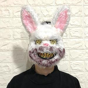 Testa di animale Maschera Nuovo Bunny maschera Maschera Prank Male sanguinosa coniglio pauroso Mascara peluche PVC Horror Killer Anonymous bianco per il regalo per bambini adulti