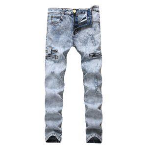 Pencil Jeans Hommes Denim Haute Taille Élastique Porté Slim Fit Neige Bleu Clair Poche Pantalon Zipperd Long