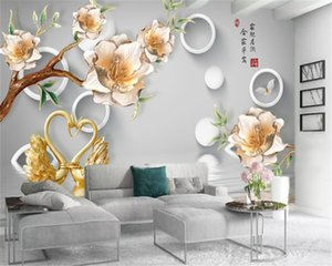3d Mural Wallpaper Delicate Flowers Beautiful Swan Lake Home Decor Living Room Bedroom Wallcovering HD Wallpaper