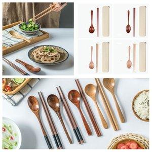 nuevo recorrido cuchara de madera natural de las mini portátil vajillas palillos de madera preciosa Establece vajilla portable boxT2I5911