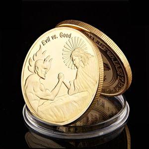 Убеждения Иисус против Зло Сатана Христос Позолоченные Античные монеты п God We Trust Coin