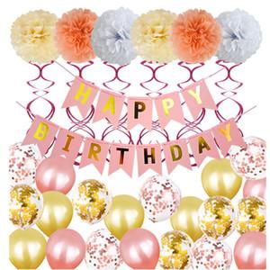 Bandera Carta flor de papel de lentejuelas fiesta de cumpleaños feliz globo globos Decoración Bunting Banner Carta globos Conjunto de cumpleaños Banner