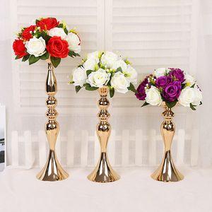 50см High Metal Подсвечник Главная Свадебные украшения цветок Стенд золото и серебро DHL Доставка XD23040