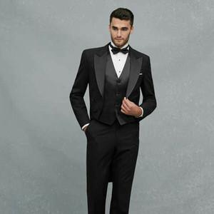 Lange jacke männer anzüge für hochzeit schwarz tailcoat bräutigam smoking trajes de hombre 3 stück neueste mantel hose designs terno masculino kostüm homme