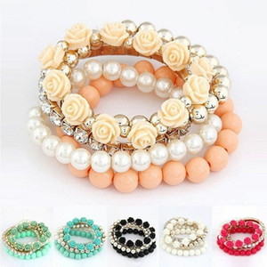 Hottest Fashion Cute Summer Bangle Resin Women Alloy Beads Flower Bracelet Jewelry For Women 6 Colors Available Stretch Bracelet