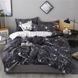 58 Marble Padrão Cama 3D Define edredon cobrir Set 3 / 4pcs Stripe Plaid Bed Set Duplo Double Queen Quilt Tampa Roupa de cama