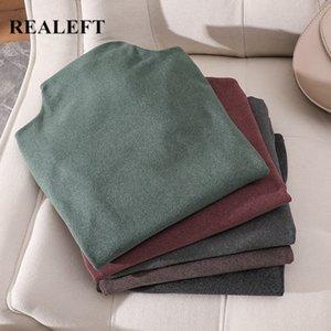 REALEFT New 2020 Autumn Winter Velvet Multi Color Sweater Turtleneck Basic Knitted Women Sweater Long Sleeve Pullover Female
