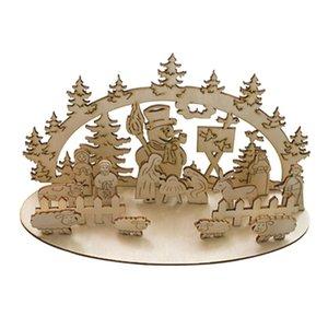 Ornamenti creativi per la decorazione del mosaico di Natale Set da tavola in legno Ornamenti tridimensionali di Natale fatti a mano giocattolo fai da te