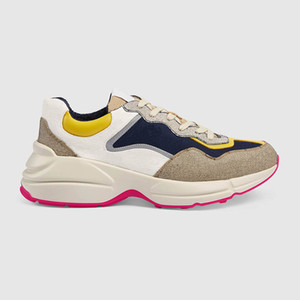 Novo chega luxo sapatos de designer de moda Marca Arrefecer Rhyton sapatilhas do desenhista estilo Unisex tamanho 35-44 modelo rz07
