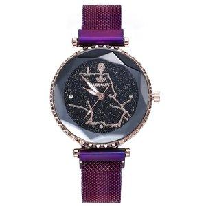 Mode Mesh Femmes Horloge Starry Sky Aimant géométrique Surface dames Robe bracelet à quartz Femme Montres Bayan Kol Saati
