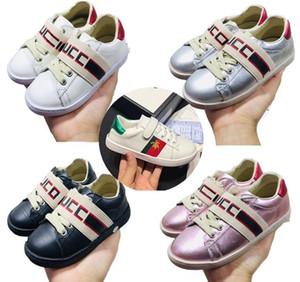 Luxus-Kinderschuhe Ace NYFW Leder-Sneaker Low cut sneaker Big Jungen Mädchen Leder Kinder Triples Off Farbe Weiß Designer-Turnschuhe