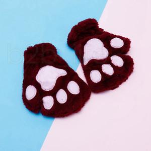 Guantes de los niños de la felpa mullida guantes de la manera muchacha del invierno manoplas patas escenario realizan Prop linda Uña de gato Guante regalos RRA2232