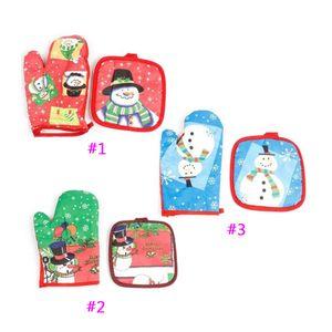 Noël Four Gant Scénographie Bonhomme de neige de Noël de cuisson Anti - Gants chauds Accessoires de cuisine cadeaux pour femme au foyer