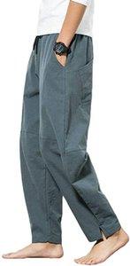 Shanghai histoire Linen hommes Casual Baggy, en vrac coton Drawstring Sarouel Poches Pantalon de yoga