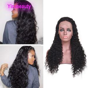Indien Unprocesseed cheveux humains 13x4 perruques avant de dentelle de couleur naturelle Vague avant de dentelle perruque avec cheveux de bébé sur mesure humide et onduleux