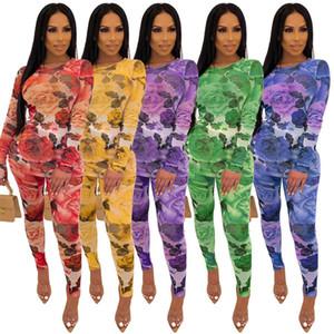 운동복 가을 겨울 여성 S 세트 전체 슬리브 꽃은 최고 레깅스 바지 정장을 인쇄 2 종 세트 의상 스포츠 S-2XL
