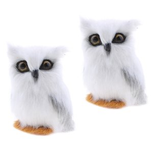 2x Mini Simulação animal Coruja Decoração Simulação Owl Artificial