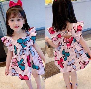 달콤한 소녀 활 스트라이프 프린트 드레스 여름 새로운 아이들 주름 드레스 A3102 슬리브 드레스 아동 등이없는 활을 비행 falbala