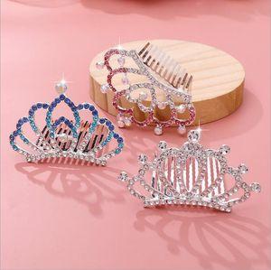 New Flower Girls Tiara for Wedding Rhinestone Head Pieces Crystal Bridal Headbands Hair Accessories for Birthday Party Kids Dresses