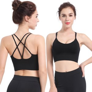 Sexy Back Padded Sports Bras Cross Straps Yoga Sport Bra Top Women Shockproof Breathable Fitness Running Gym Vest Top Sportswear