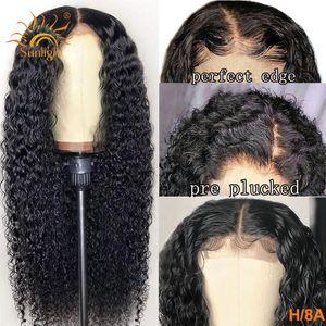 Peluca de pelo humano rizado 13x4 Peluca delantera de encaje Luz del sol Larga Larga pelucas brasileñas 150 Densidad Remy Frente de encaje Pelucas de cabello humano para mujeres