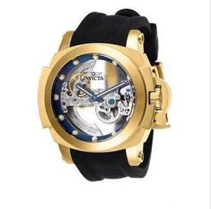 Invicta Reserve modelo - 26760 ocos na parte de trás do parafuso Zeus Tourbillon banhado a ouro cinto de silicone relógios mecânicos dos homens