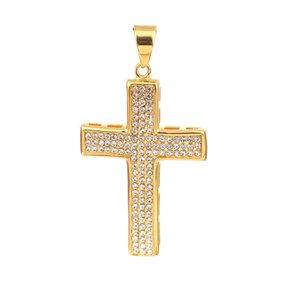 "Edelstahl Anhänger Kreuz Gold klar Strass Schmuck DIY Erkenntnisse 72mm (2 7/8 "") x 39 mm (1 4/8""), 1 Stück"