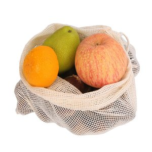 Mesh Fruit Vegetable Bags Washable Eco-Friendly Bags Home Kitchen Storage Net Bag Portable Mesh Package yq01614