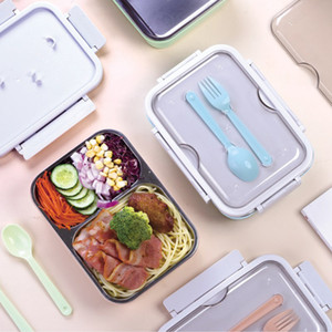 Portable Bento Boxes Student 3 Grids Lunch Box Fully Sealed Food 2 Grids Lunch Box Thermal Lunch Boxes with Fork and Spoon T2I51055