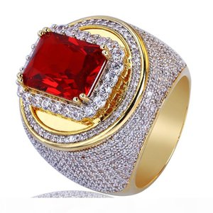 Men Gold Color Hip Hop Rings Micro Pave Big Red CZ Stone All Iced Out Bling Rings for Male Female Jewelry