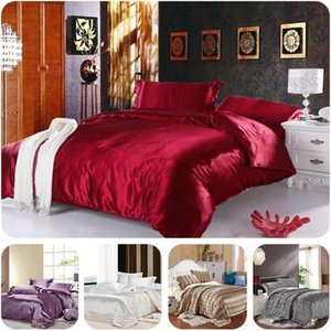 Full King Silk Bedding Comforter Quilt Duvet Cover Sheet Sets Wine Red Gold Silver Satin Silk Bedding 4pcs Sets