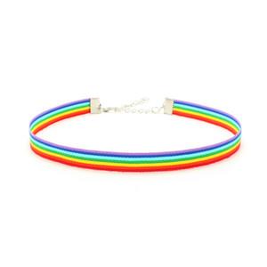 Gay Pride Rainbow Choker Collana Collana LGBT Gay e Lesbica Pridge Lace Chockers Ribbon Collar con gioielli di dichiarazione pendente per uomini donne