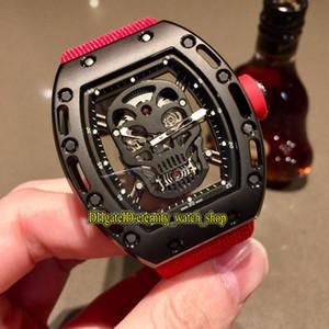 Специальное предложение Luxury RM 052 PVD черный корпус Череп Скелет циферблат Япония Miyota Автоматическая RM52-01 Мужские часы Нейлоновый ремень Спорт Дизайнерские часы