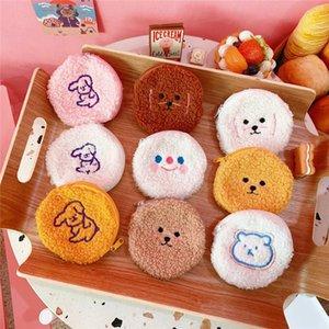 Dog Toy dos desenhos animados Urso Plush Coin Purse Suave Fur Dinheiro Bolsa Mini Kawaii Mulheres Clutch Wallet para a menina Zipper sacos